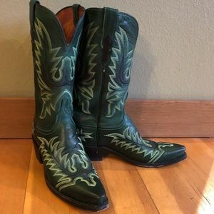 Lucchese 1883 green cowboy ranch boots fancy